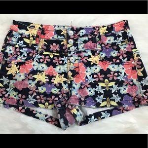 High waisted denim floral shorts